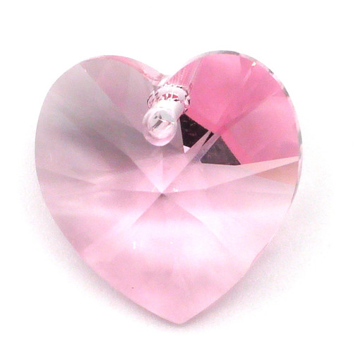 18mm Swarovski Crystal 6228 Xilion Heart Pendant, Light Rose