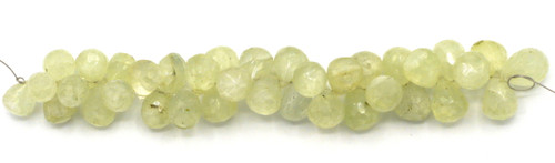 "4"" Strand 7-10mm Prehnite Faceted Top-Drilled Teardrop Beads"