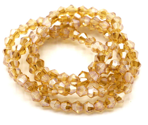 100+pc 4mm Crystal Bicone Beads, Honey Shimmer