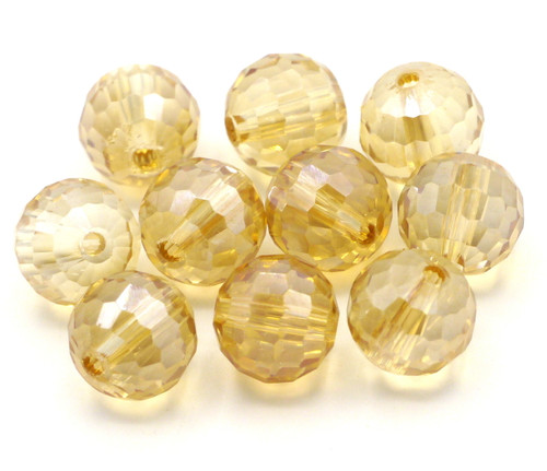 10pc 10mm Crystal Round Beads, Honey Shimmer