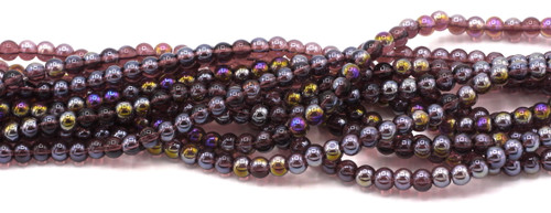 "11"" Strand 6mm Round Glass Beads, Amethyst AB"