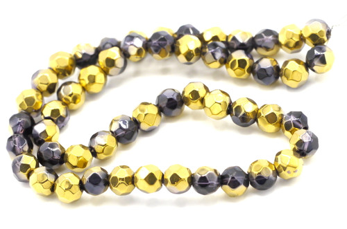 "11"" Strand 6mm Faceted Round Glass Beads, Golden Violet"