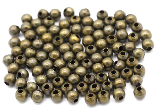 100pc 4mm Round Steel Spacer Beads, Antique Brass Finish