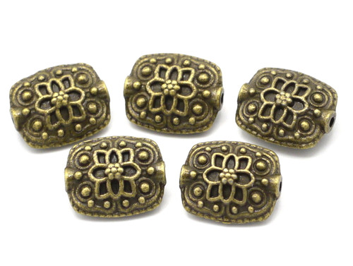 5pc 13x11mm Ornate Rectangle Spacer Beads, Antique Brass