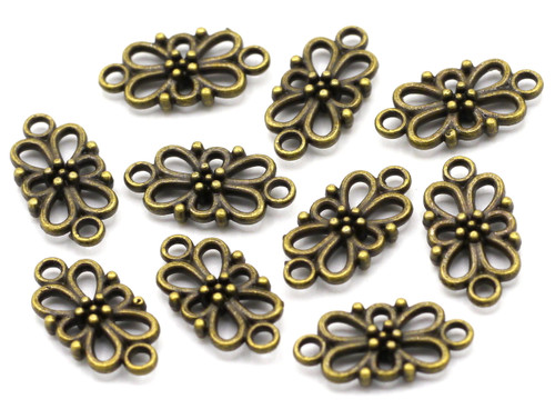 10pc 16x8mm Dotted Fancy Links, Antique Brass Finish