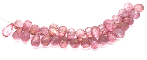 "4"" Strand 9-12mm Mystic Quartz Faceted Teardrop Beads (Coated), Antique Pink"