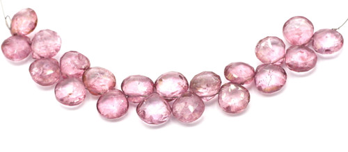 "4"" Strand Approx 10mm Coated Quartz Faceted Flat Teardrop Beads, Antique Pink"