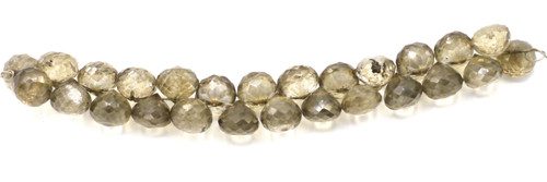"4"" Strand 7x6-8x7mm Smoky Quartz Faceted Teardrop Beads"