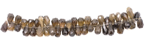 "4"" Strand Approx 10-18mm Smoky Quartz Faceted Teardrop Beads"
