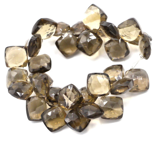 "4"" Strand Approx 8-12mm Smoky Quartz Faceted Puffed Diamond Beads"