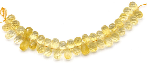 "4"" Strand 8-15mm Citrine Faceted Teardrop Beads"