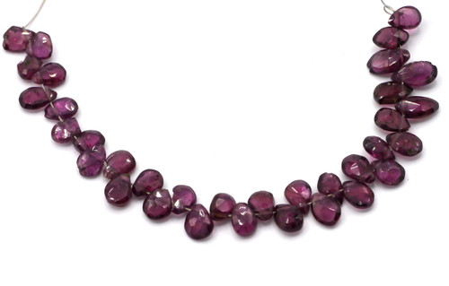 "4"" Strand 6-12mm Garnet Faceted Flat Teardrop Beads"