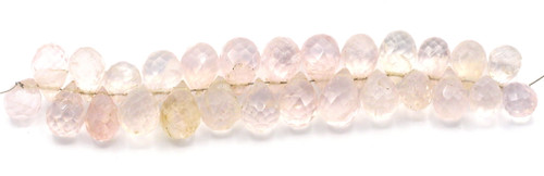 "4"" Strand 10-14mm Faceted Rose Quartz Teardrop Beads"