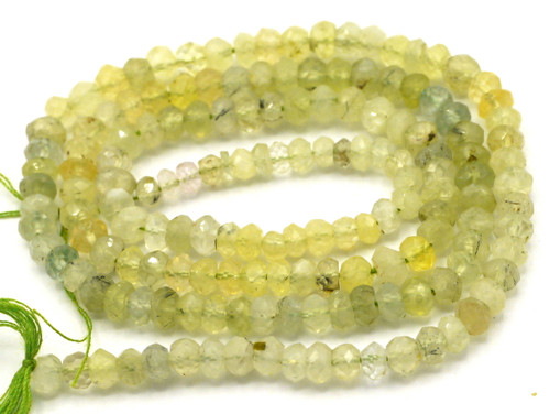 "14"" Strand Approx 3-4mm Prehnite Faceted Rondelle Beads"