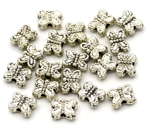 20pc 5.5x7.5mm Butterfly Spacer Beads, Antique Silvertone