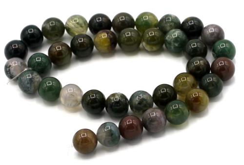"15"" Strand 10mm Indian Agate Round Beads"