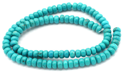 """16"""" Strand 6x4mm Sinkiang Turquoise Rondelle Beads"""