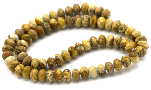 "15"" Strand 8x5mm Picture Jasper Faceted Rondelle Beads"