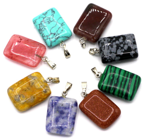 1pc Approx 20mm Gemstone/Glass Rectangle Pendant, RANDOM PICK