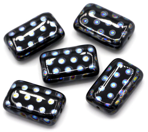 5pc 12x19mm Czech Glass Peacock Beads, Black With Blue AB Dots