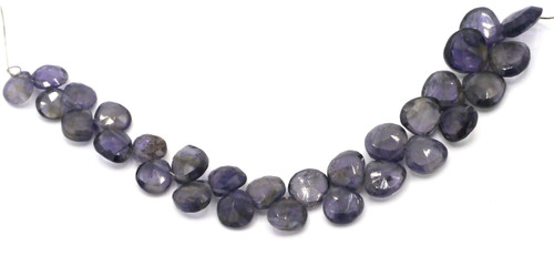 "4"" Strand 4-8mm Iolite Faceted Puffed Teardrop Beads"