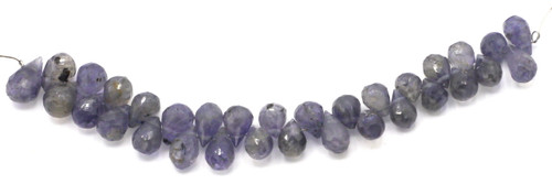 "4"" Strand 6-8mm Iolite Faceted Teardrop Beads"