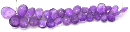"4"" Strand Approx 10-18mm Graduated Amethyst Faceted Teardrop Beads"