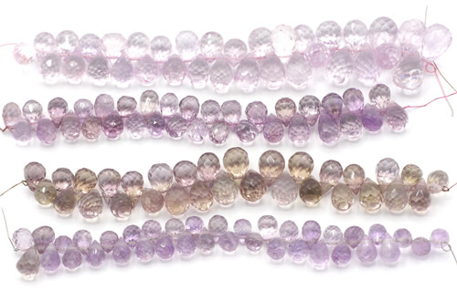 "4"" Strand Approx 7-12mm Graduated Lavender Amethyst Faceted Teardrop Beads"