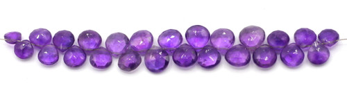 "4"" Strand Approx 6-9mm Amethyst Faceted Puffed Teardrop Beads"