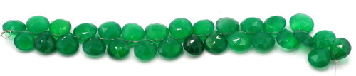 "4"" Strand 9-12mm Green Onyx Faceted Puffed Teardrop Beads"