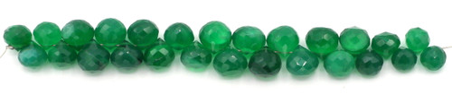 "4"" Strand 6-9mm Green Onyx Faceted Teardrop Beads"