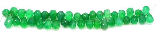 "4"" Strand 8-10mm Green Onyx Faceted Teardrop Beads"