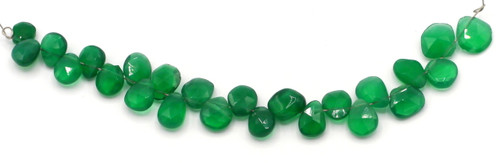 "4"" Strand 5-10mm Green Onyx Faceted Puffed Teardrop Beads"