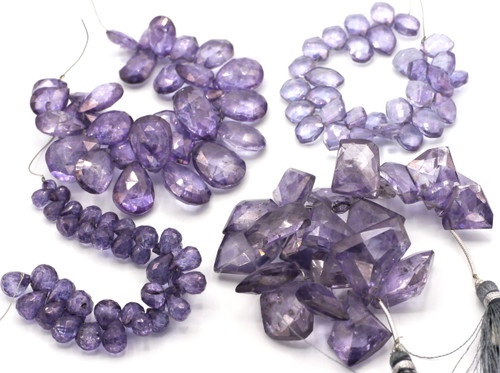 "RANDOM PICK-- 4"" Strand 6-16mm Mystic Quartz Faceted Fancy Shape Beads (Coated), Violet"