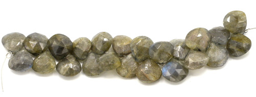 "4"" Strand Approx 9-14mm Labradorite Faceted Puffed Teardrop Beads"