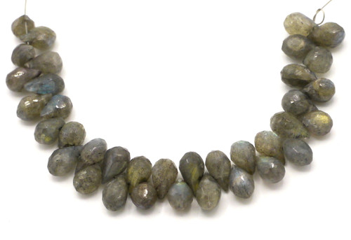 "4"" Strand Approx 7-10mm Labradorite Faceted Teardrop Beads"