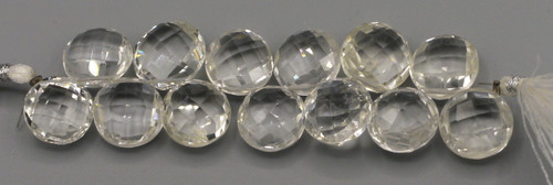 """4"""" Strand Approx 11-15mm Quartz Crystal Faceted Disc Beads"""