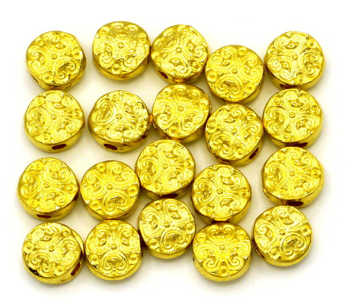 20pc 7mm Fancy Scrollwork Disc Beads, Gold Finish