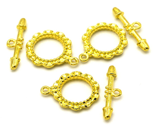 3 Sets 24x27mm Regal Toggle Clasps, Goldtone