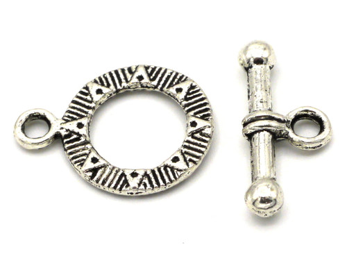 19mm Starburst Toggle Clasp, Antique Silvertone