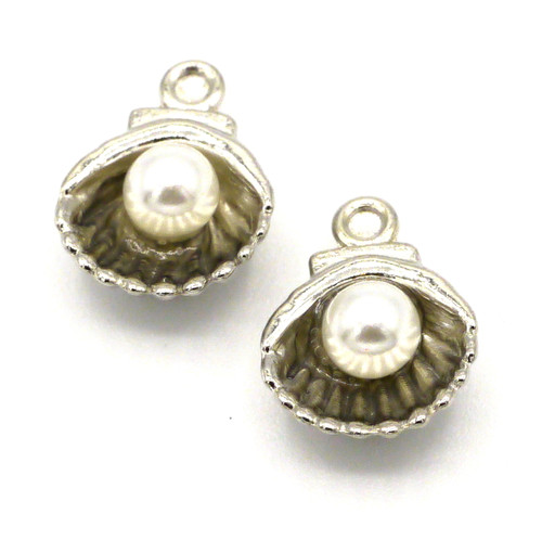 2pc 12x9mm Shell Drop w/Acrylic Pearl, Antique Silvertone