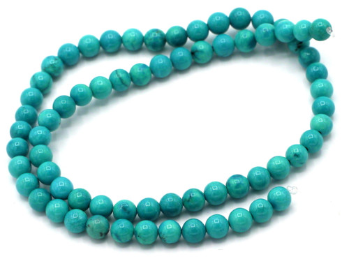 "15"" Strand 6mm Sinkiang Turquoise Round Beads"