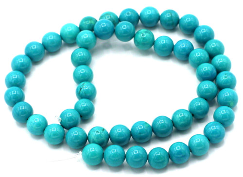 "15"" Strand 8mm Sinkiang Turquoise Round Beads"