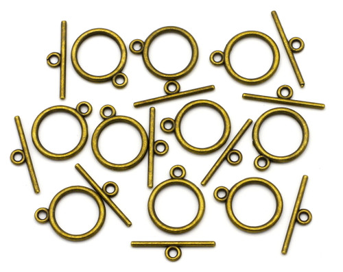 10 Sets 18x21mm Classic Toggle Clasps, Antique Bronze