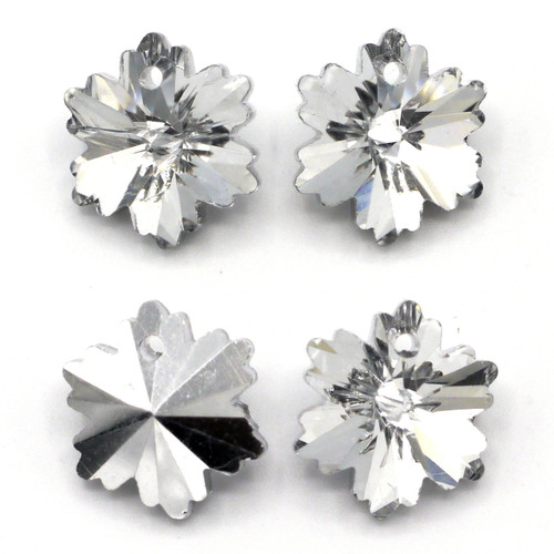2pc 14mm Cut Glass Crystal Foil-Backed Snowflake/Flower Drops, Silver Shade