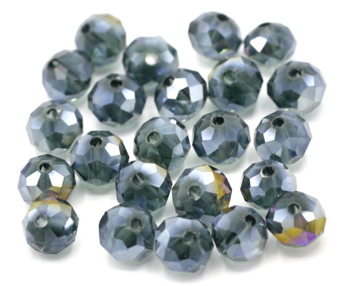 24pc 8x6mm Crystal Rondelle Beads, Slate Blue AB