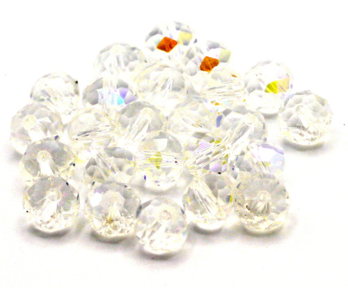24pc 8x6mm Crystal Rondelle Beads, Crystal AB