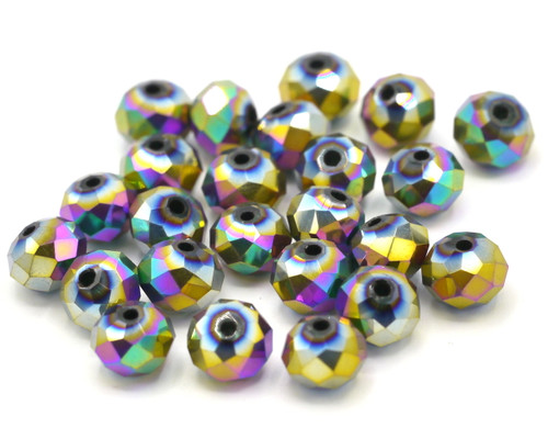 24pc 8x6mm Crystal Rondelle Beads, Metallic Multicolor