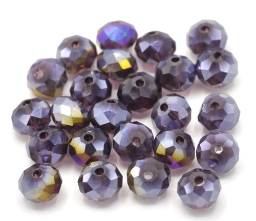 24pc 8x6mm Crystal Rondelle Beads, Violet AB