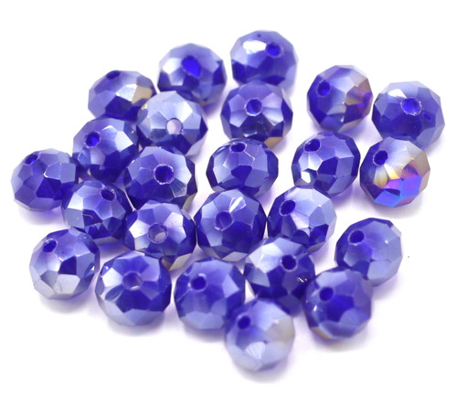 24pc 8x6mm Crystal Rondelle Beads, Sapphire Half-AB